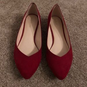 Kelly and Katie Red Suede Flats Size 10